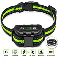 Bark Collar No Bark Collar Rechargeable Anti bark Collar with Adjustable Sensitivity and Intensity…