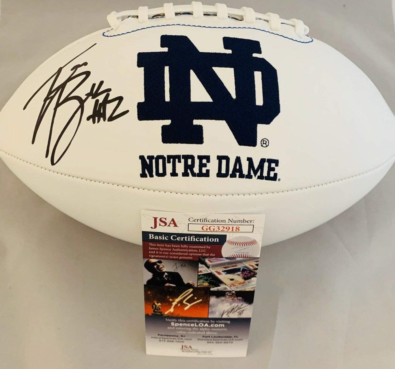 JSA W Auth Tim Brown Autographed Notre Dame Fighting Irish Logo Football