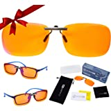 Clip On 99.9% Anti Blue Light Blocking Computer Video Gaming Glasses for Women & Men - Clips On Your Prescription or Reading Glasses - Sleep Better - Reduce Eye Strain - Stop Migraine Headaches
