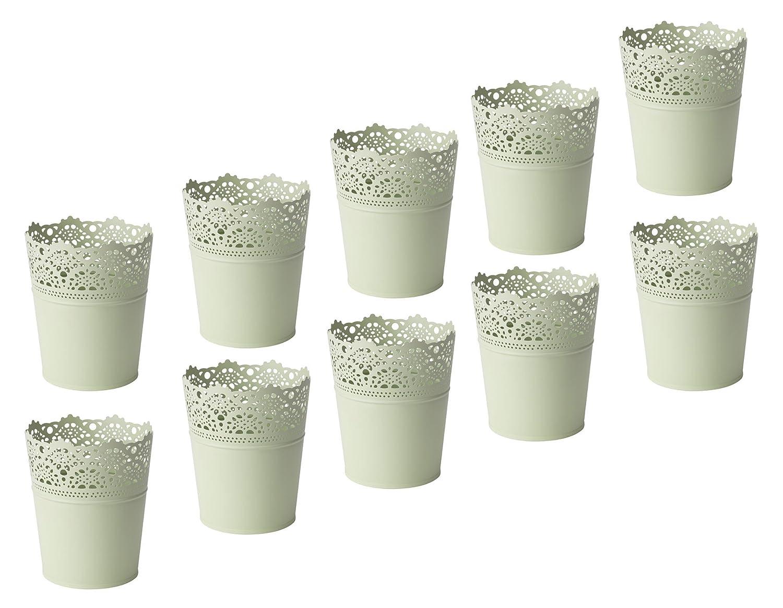 10er Set IKEA SKURAR Pflanztopf hellgrün, 10,5 cm Blumen Topf Pflanzen