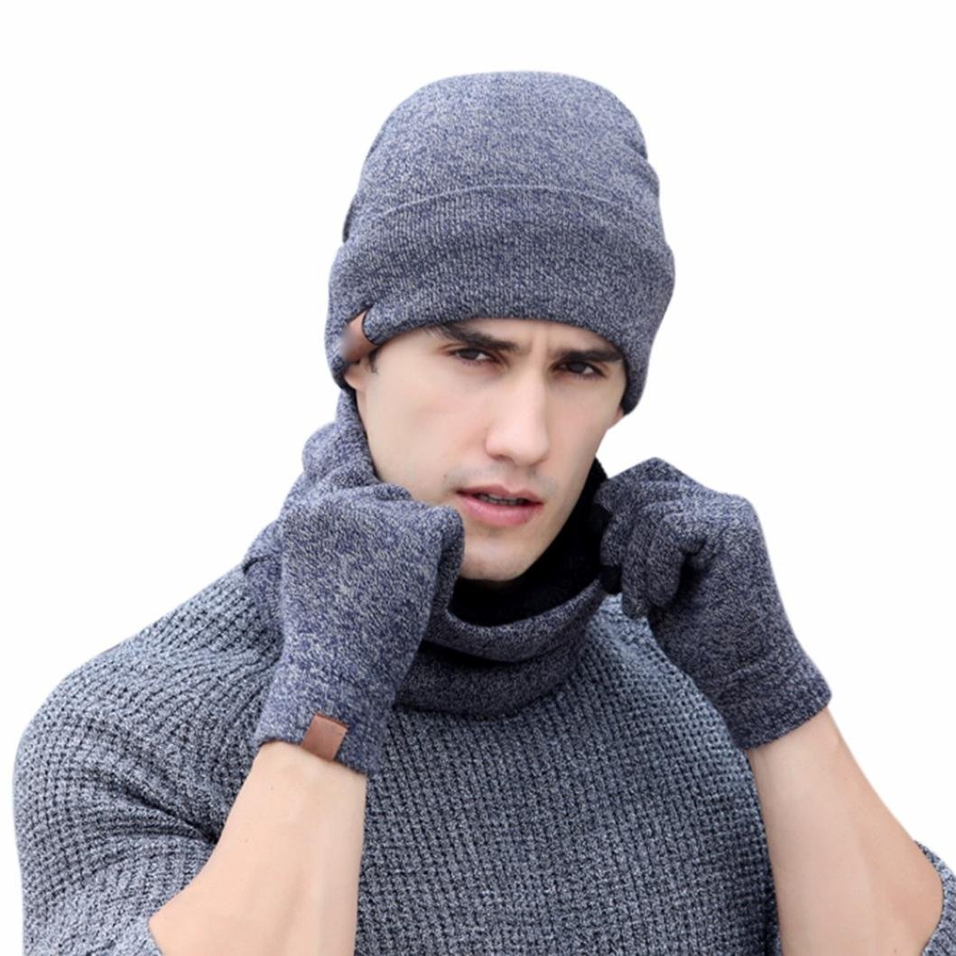 SUKEQ 3pc Men Classic Winter Soft Full Thick Knit Beanie Hat Fleece Lined Neck WarmersScarf Touch Screen Gloves Set (Gray)