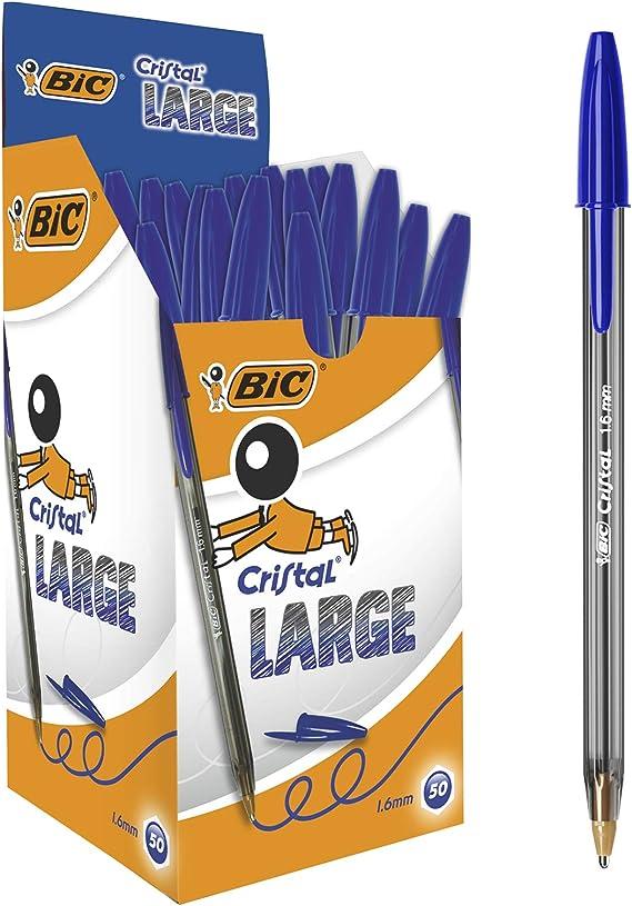 BIC Cristal Large Bolígrafos Punta Ancha (1,6 mm) - Azul, Caja de 50 Unidades, para escritura suave, ideal para oficinas: Amazon.es: Oficina y papelería