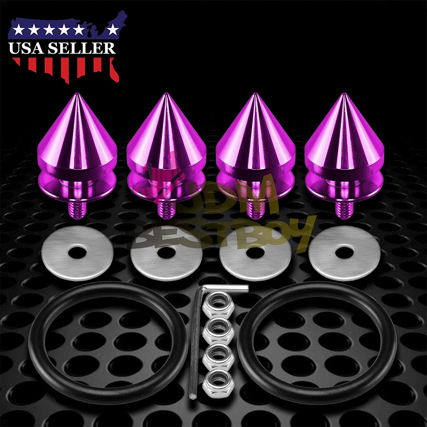 JDMBESTBOY JDM Purple Spiked Quick Release Fasteners for Car Bumpers Trunk Fender Hatch Lids Kit from