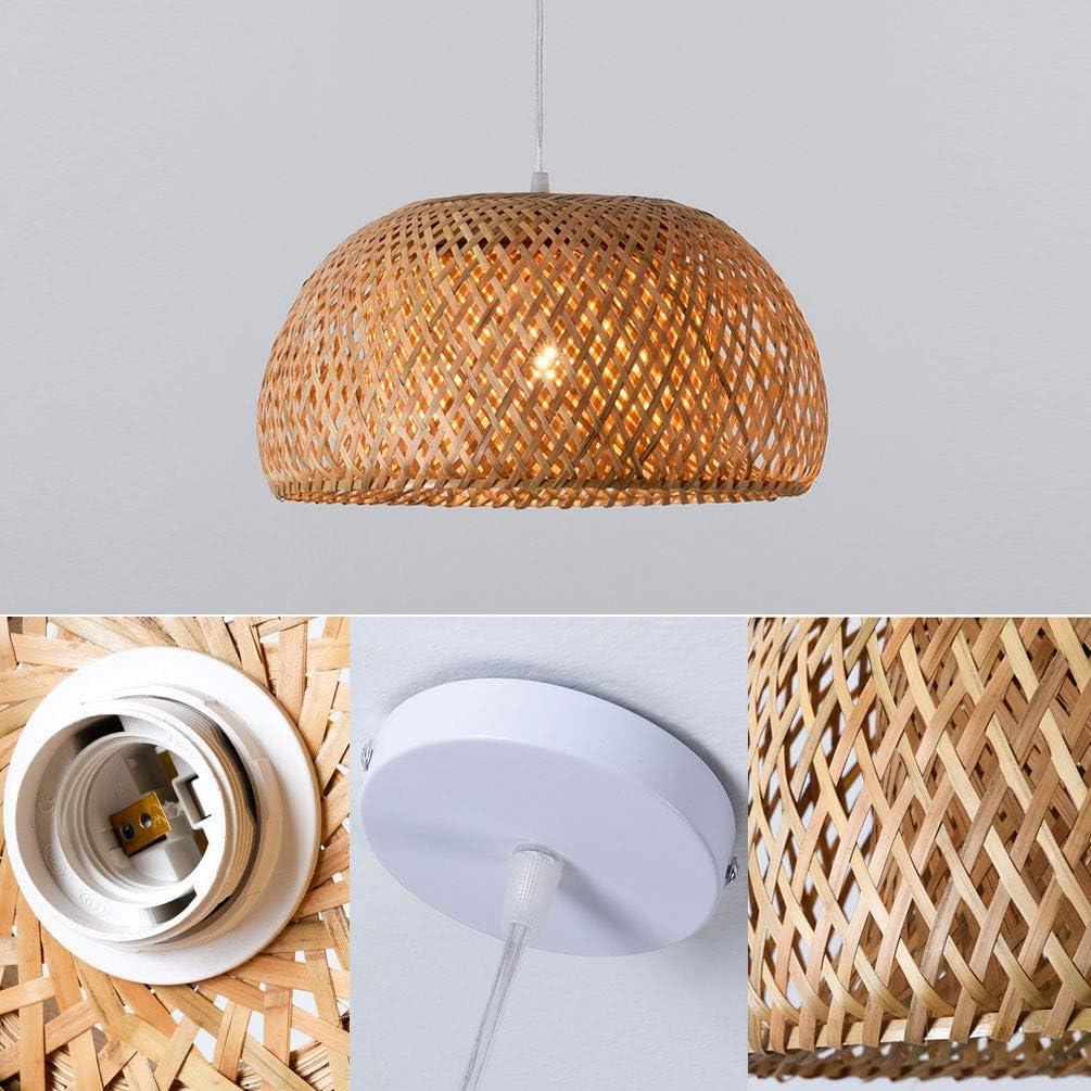 LIUJIE Lampadario di bambù Vimini Rattan Sfumature Tessuto Paralume Illuminazione a Sospensione a soffitto per Cucina Ristorante Sala da Pranzo,380 * 200mm 450*230mm