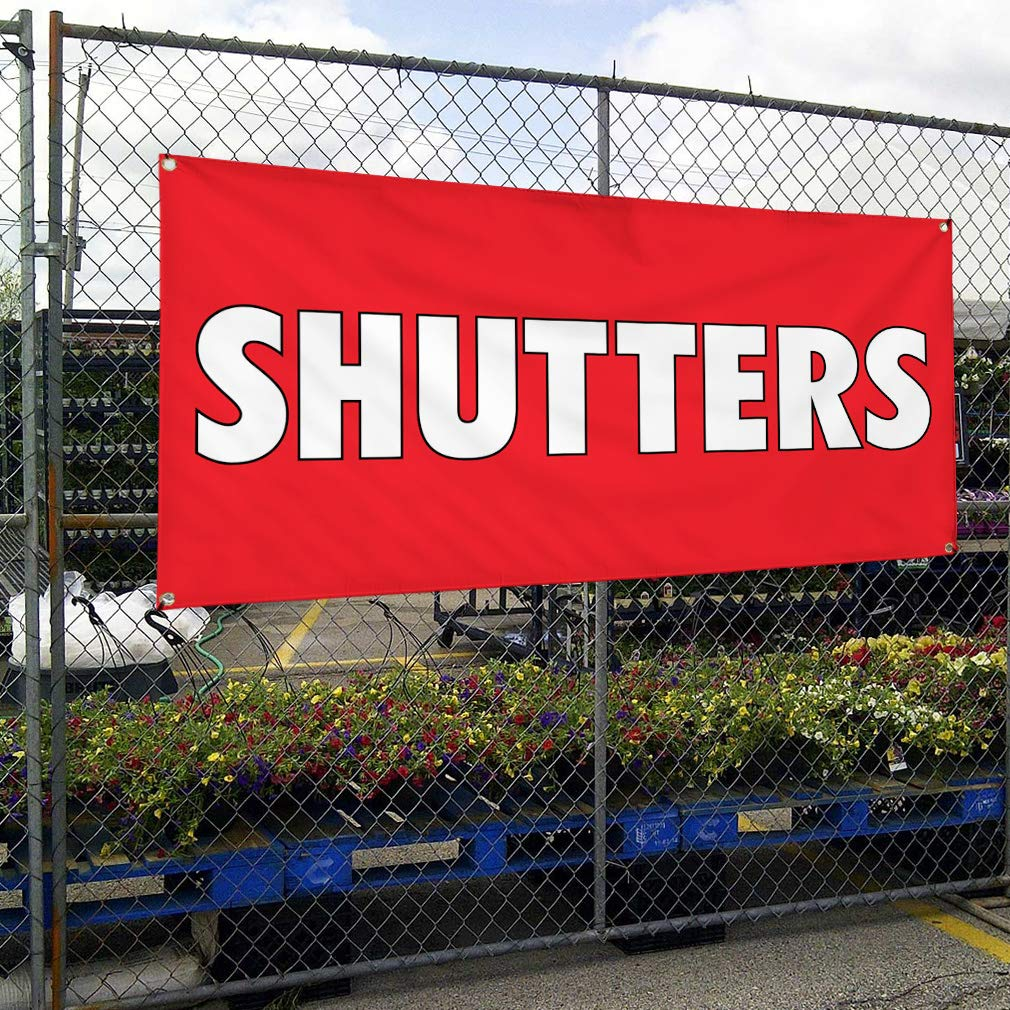 8 Grommets Multiple Sizes Available 48inx96in One Banner Vinyl Banner Sign Shutters #1 Business Shutters Outdoor Marketing Advertising Red