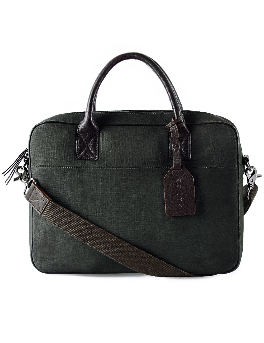 Gauge 14 Inch Leather Trim Laptop Bag Messenger Bag Office Briefcase College Bag Satchel for Men (Olive)