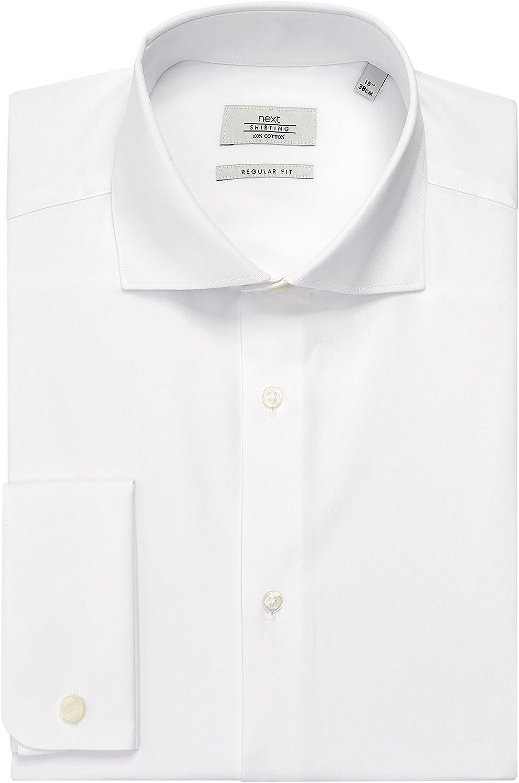 next Hombre Camisa De Corte Estándar con Cuello Cortado De Algodón