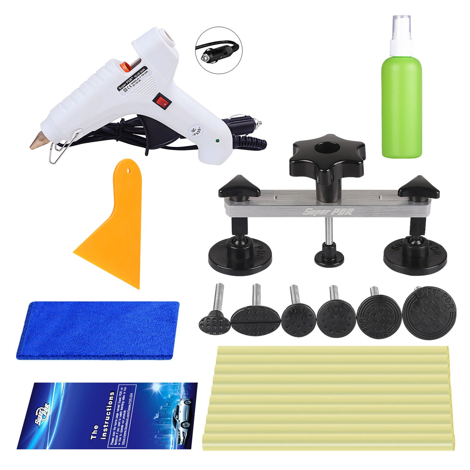 Super PDR 40Pcs New Dent Remover Removal Tools Kit Car Auto Body Hail Damage and Door Dings Repair Devices Set Dent Lifter Bridge Puller