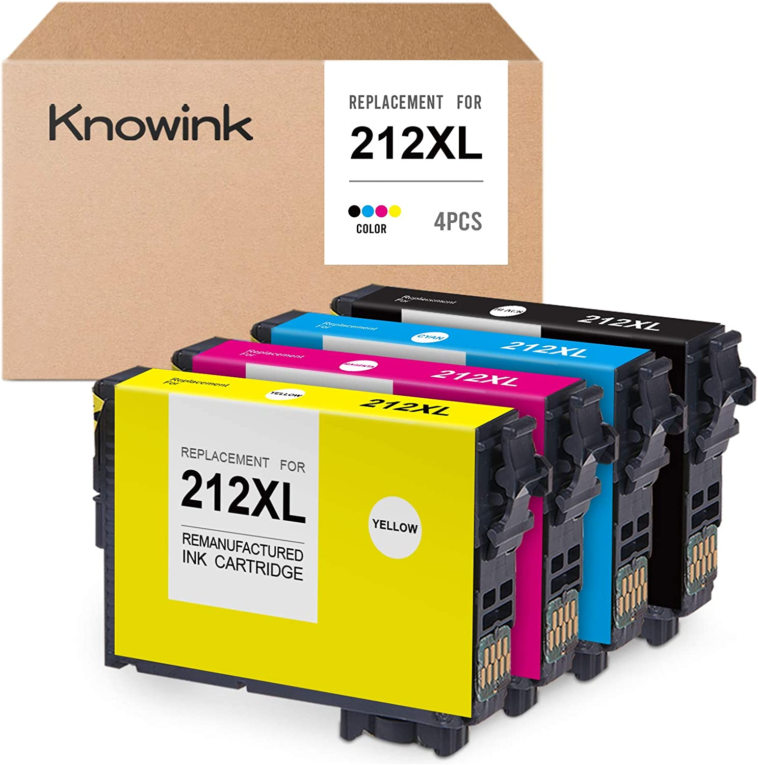 KNOWINK Remanufactured Ink Cartridge Replacement for Epson 212 212XL T212 T212XL for Expression Home XP-4100 XP-4105, Workforce WF-2830 WF-2850 AIO (1 Black, 1 Cyan, 1 Magenta, 1 Yellow, 4-Pack)