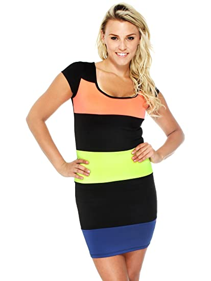 ec0d5cd77a4 Simplicity Neon Stripe Bodycon Dress Trendy Thick Quality Clubwear