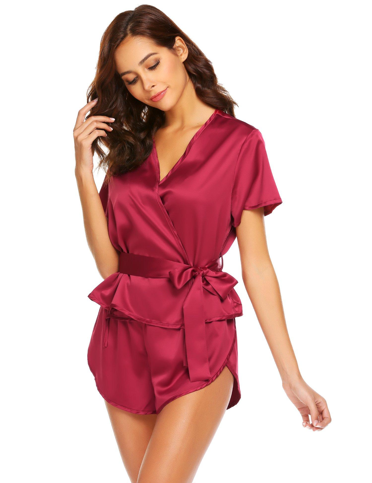 Pintimi Sexy Sleepwear for Women Kimono Short Set Dark Red L