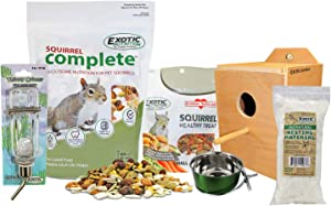 Exotic Nutrition Starter Package for Squirrels - Includes Healthy Food, Nest Box, Nesting Material, Natural Treat, Water Bottle & Food Dish