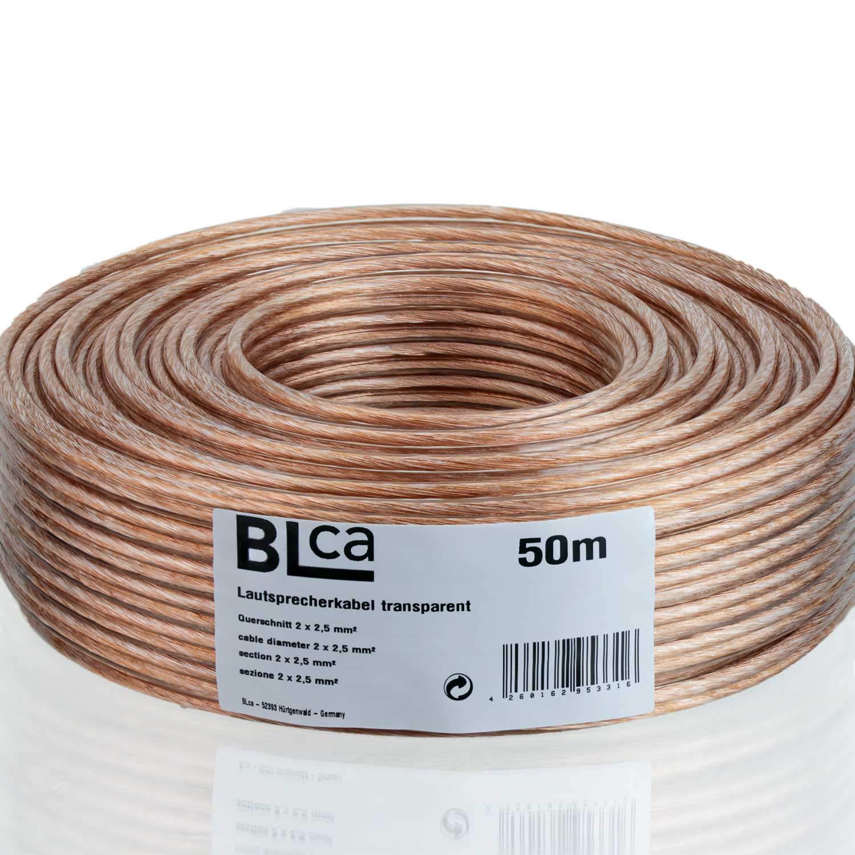 Cable CCA para Altavoces Audio y HiFi BLCA Sistemas est/éreo 2 x 2.5mm/² 25m Cable para Altavoces Transparente Adecuado parapara receptores