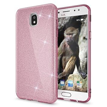 Coovertify Funda Purpurina Brillante Rosa Samsung J5 2017, Carcasa resistente de gel silicona con brillo Rosa para Samsung Galaxy J5 2017 (J530)