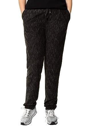 93779236dbbe Ulla Popken Damen große Größen bis 62+   Hose aus meliertem Jersey    Spitzen-Details   Bequem geschnitten   teilelastischer Bund   Bindeband    717611  Ulla ...