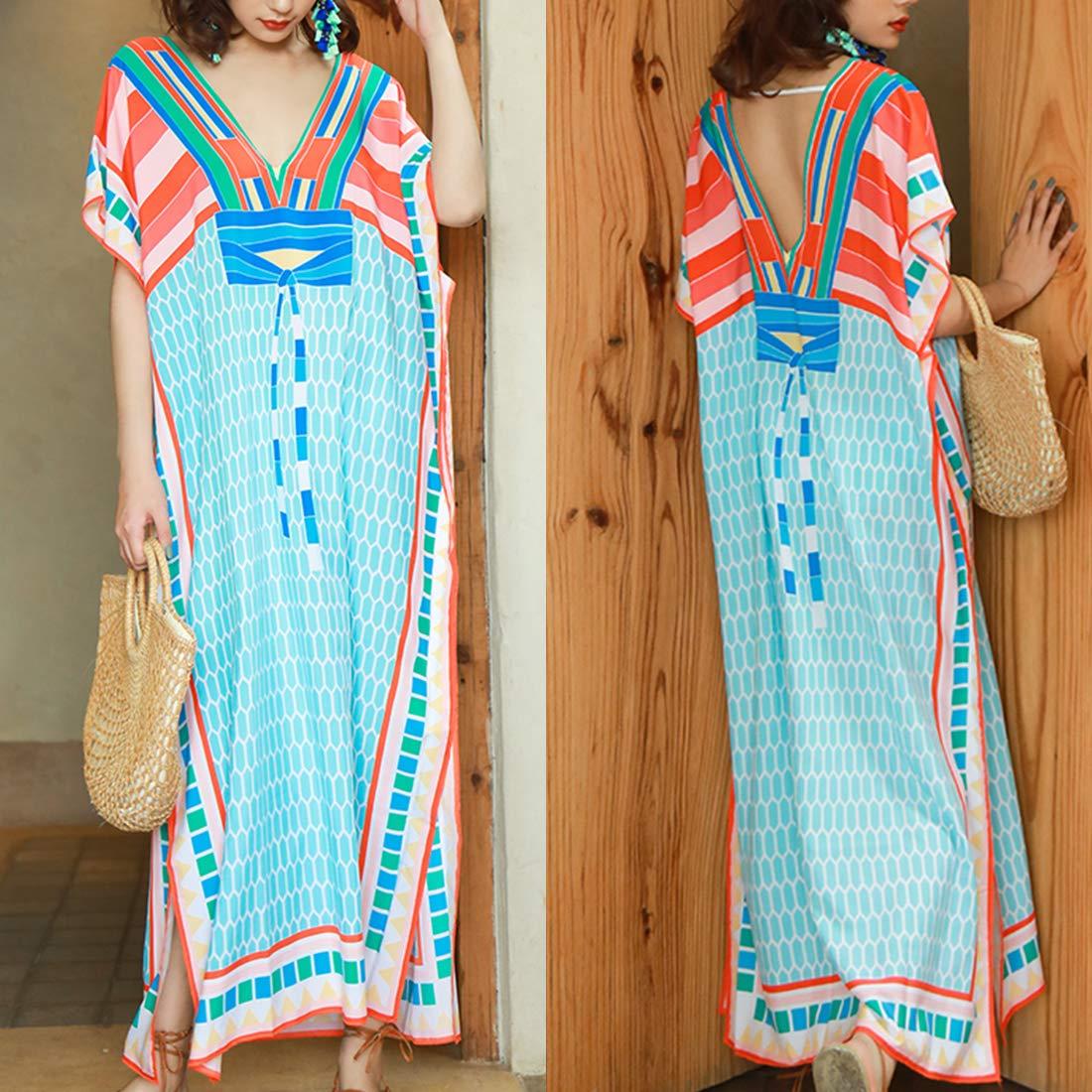 Women Kimono Boho Bikini Cover Up Coat Summer Beach Long Cardigan Dress Sundress