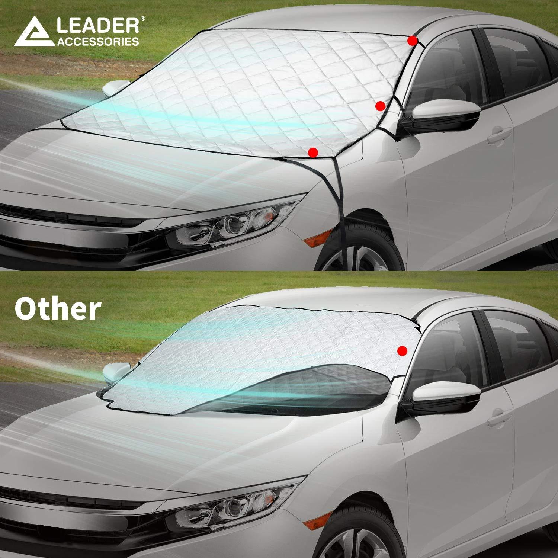 Anti-UV Antighiaccio Leader Accessories 2 in 1 3 Strati Copertura Parabrezza Auto con Due Copri Specchio per Sole e Neve da Tutte Stagione Tappetino Parabrezza Antigelo 57L x 50 L Antivento