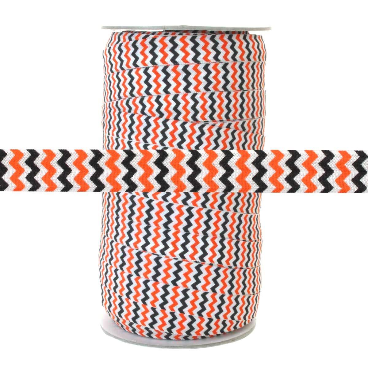 100 Yards - Orange and Black Chevron on White - 5/8'' Fold Over Elastic - ElasticByTheYard by ElasticByTheYard