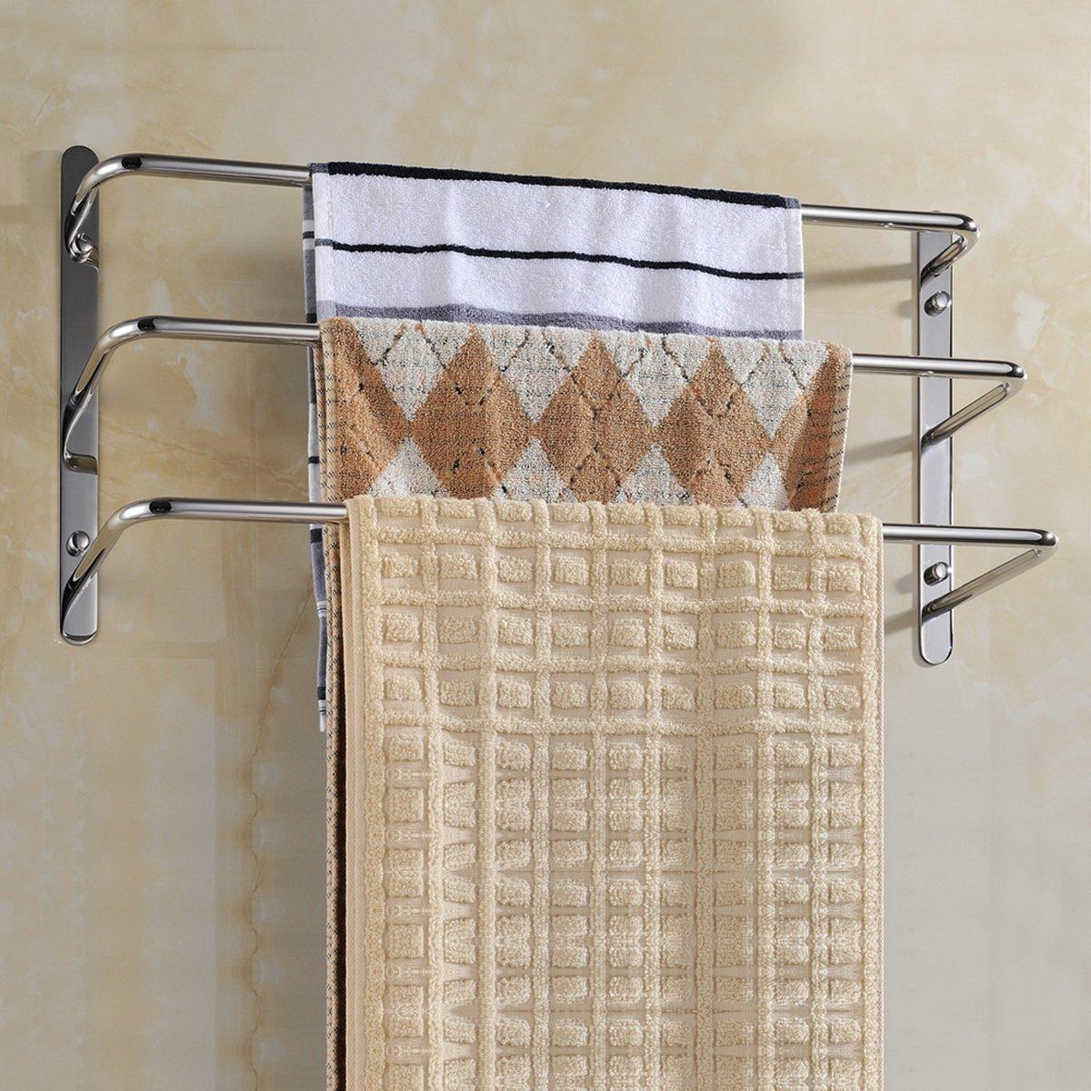 Sprinkle - Soporte de pared para baño contemporáneo de accesorios de baño y ducha acero inoxidable 3 barras toallero baño Robe Ganchos estante toallero ...