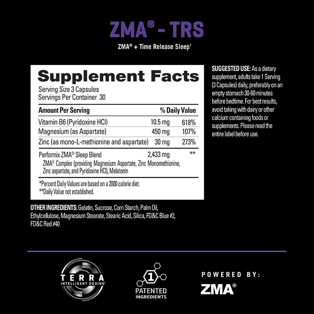 PERFORMIX ZMA -TRS, Patented ZMA + TimeRelease Sleep, Nighttime Recovery, Improve Sleep...