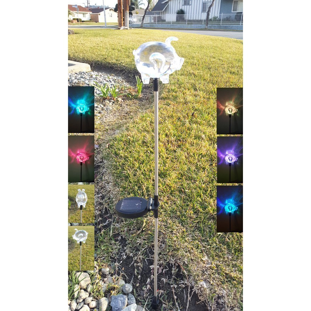 Solar Powered Pig Garden Stake Pathway Color Change Lights (Set of 2)