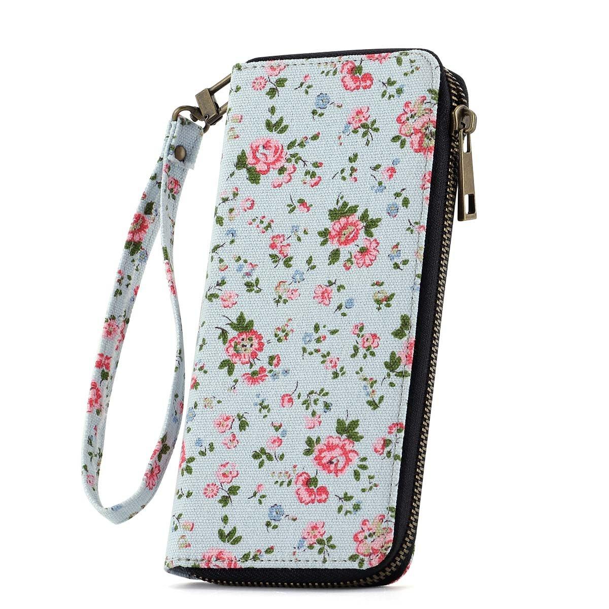 blueefloral Women's Clutch Wallet Ladies Zip Around Bifold Long Purse Travel Phone Card Holder Organizer Wrist Strap