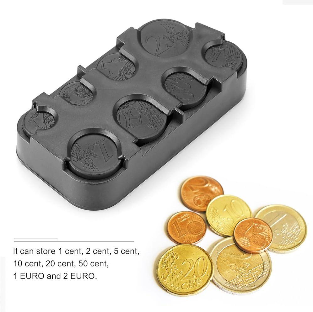 OurLeeme Moneda Interior del Coche sostenedor de la Caja de Almacenamiento envase de la Caja del dispensador de Monedas de Euro para Organizador (2PCS): Amazon.es: Coche y moto