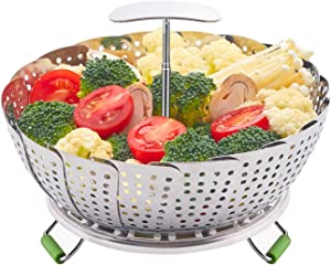 LHS Food Steamer Basket, Stainless Steel Kitchen steamer Collapsible Steamer, Insert for Veggie Fish Seafood Cooking, Expandable to Fit Various Size Pot (5.9