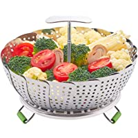 LHS Food Steamer Basket, Stainless Steel Kitchen Steamer Collapsible Steamer, Insert for Veggie Fish Seafood Cooking…