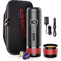 CONQUECO Bärbar kaffemaskin, 12 V bil kaffebryggare, 15 bar tryck (med uppladdningsbart batteri och mjuk resväska)