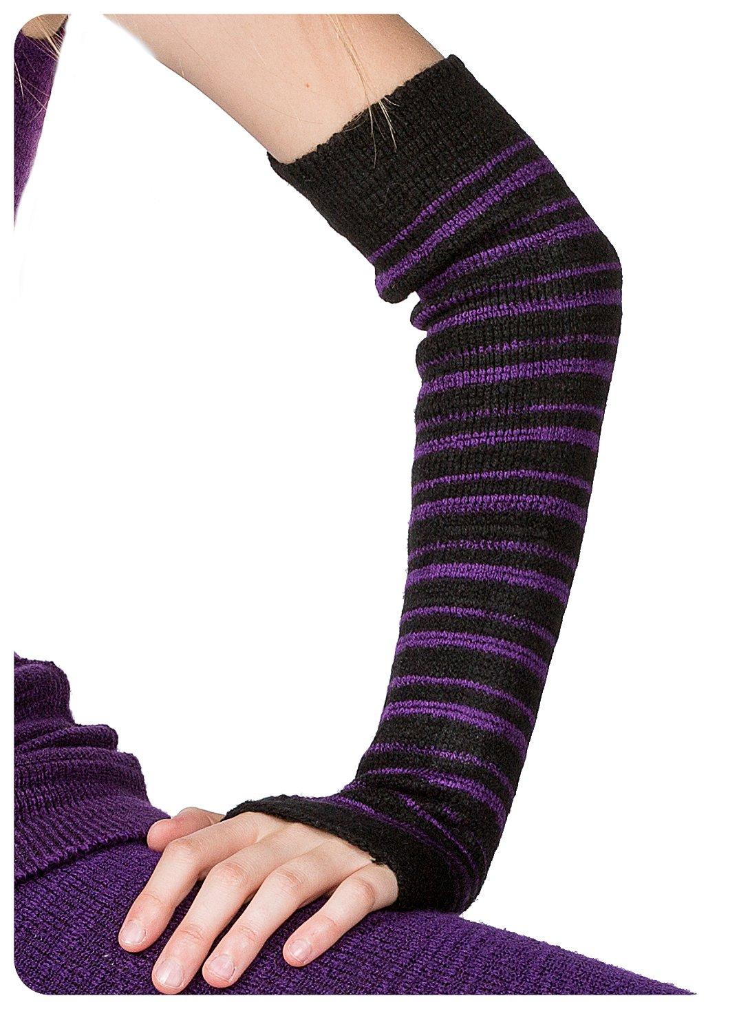 Black & Purple Striped Arm Warmer KD dance New York Sexy, Fashionable & Fingerless Arm Warmers Thumb Hole #MadeInUSA Happy New Year 2018 @KDdanceNewYork by KD dance New York (Image #5)