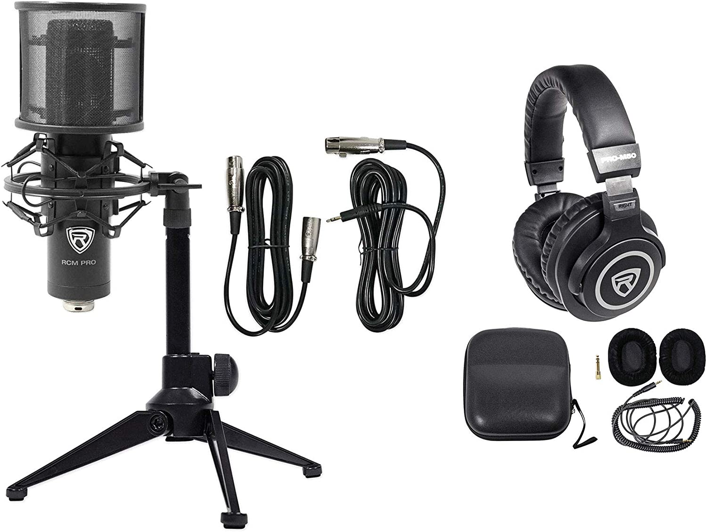 Rockville PC Gaming Streaming Twitch Bundle RCM PRO Microphone+Headphones+Tripod