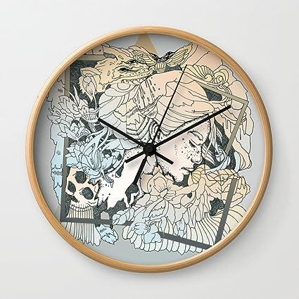 Amazon.com: Society6 BROKEN FRAMES Wall Clock Natural Frame, Black ...