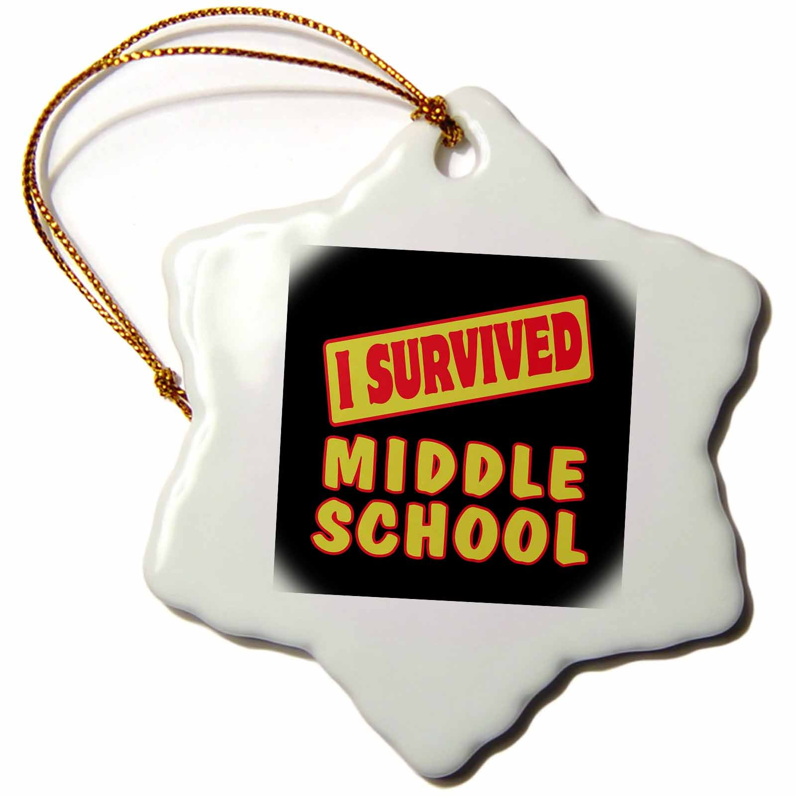 3dRose orn_118085_1 I Survived Middle School Survival Pride and Humor Design Snowflake Porcelain Ornament, 3-Inch