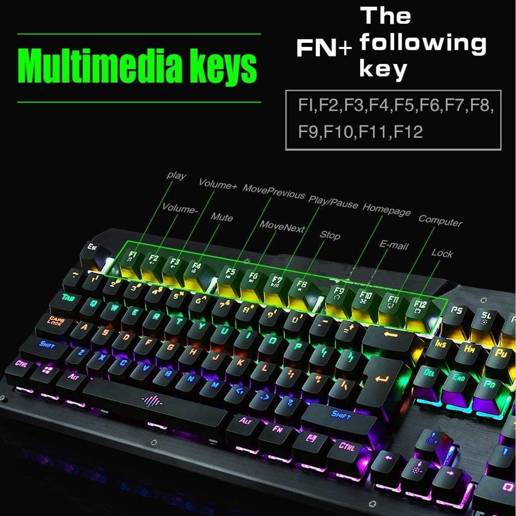Color : White KLSDZSP Mechanical Keyboard Game Esports Eating Chicken Game Button Programmable 104-key Keyboard Home Internet Cafe Keyboard