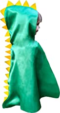 Dinosaur Cape Costume Hood with Spikes Boy Girl Toddler Gift Green for Imaginative Easy Play