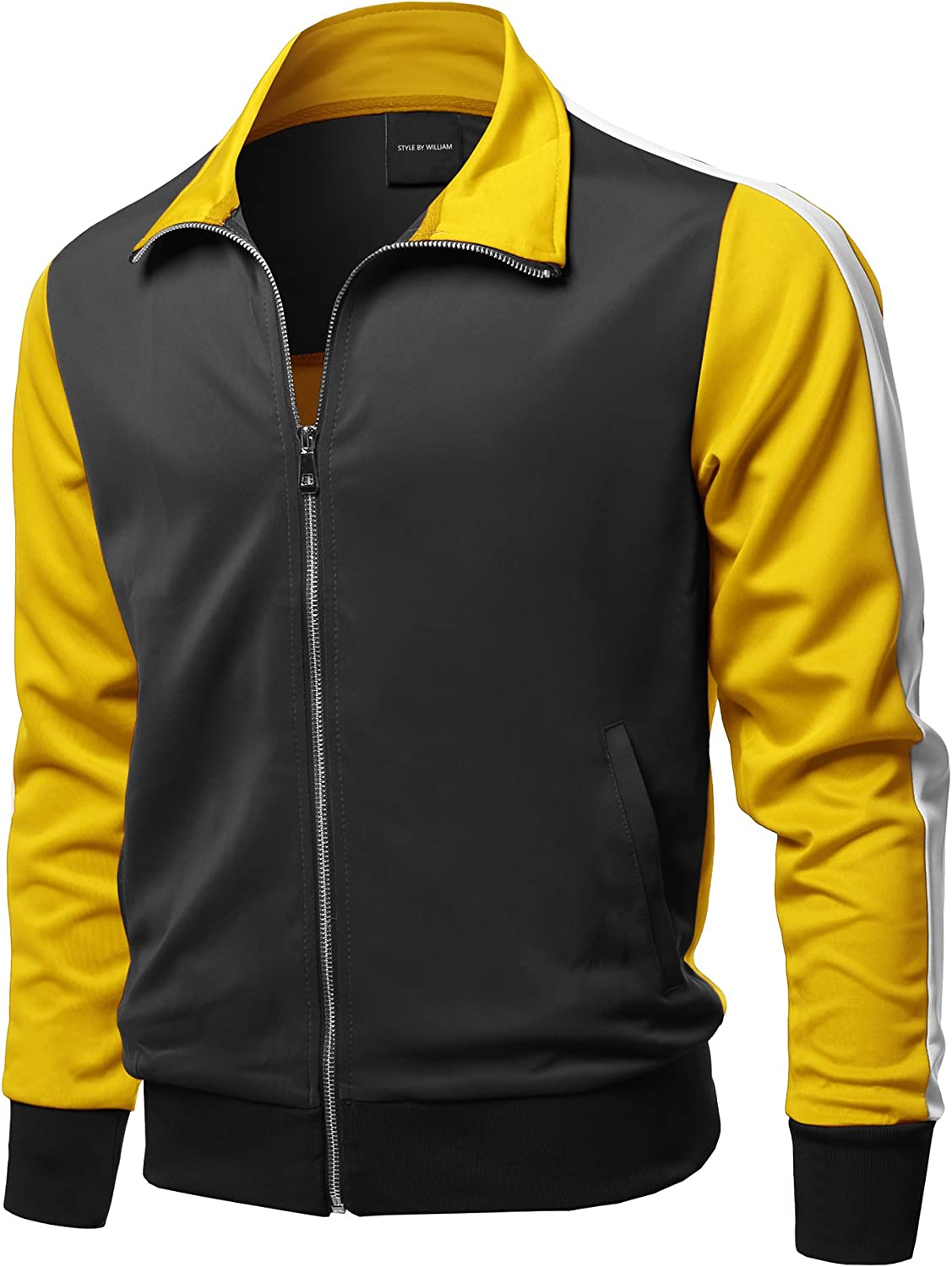 Men's Premium Quality Shoulder Panel Zip-Up Track Jacket at  Men's Clothing store