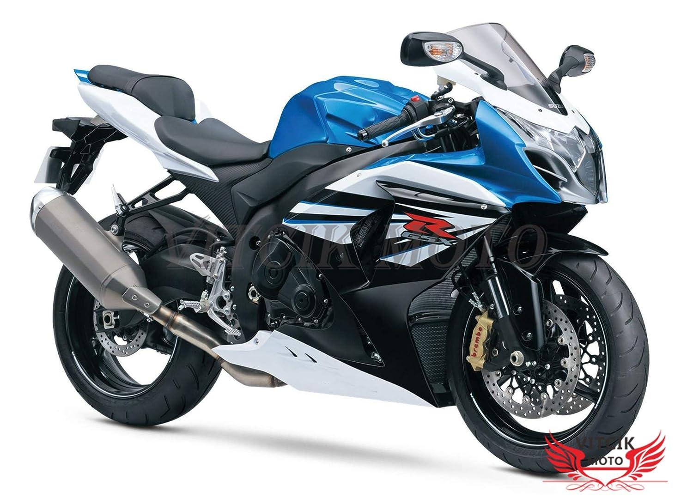 VITCIK (フェアリングキット 対応車種 スズキ Suzuki GSXR1000 GSX R1000 K9 2009 2010 2011 2012 2013 2014 2015 2016) プラスチックABS射出成型 完全なオートバイ車体 アフターマーケット車体フレーム 外装パーツセット(ブルー & ホワイト) A028   B071CNSFJM