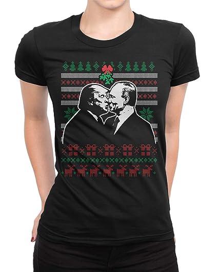 521bab57609 Retta Trump   Putin Kissing Under Mistletoe Ugly Christmas Ladies T-Shirt  Small Black