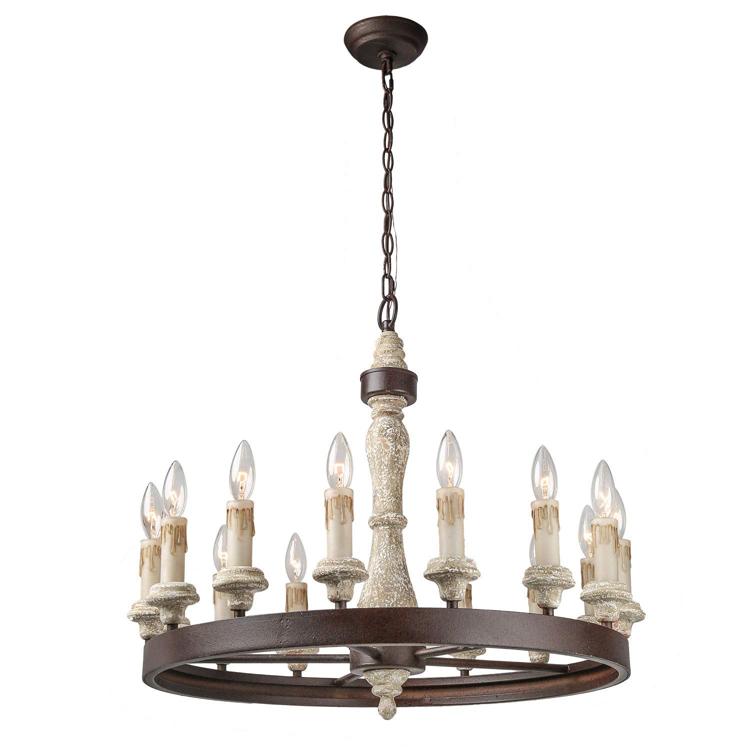 LNC 15-Lights French Country Shabby Chic Chandeliers Wood Chandelier Lighting,White 3298