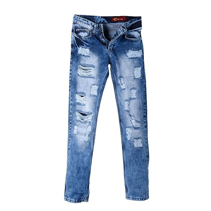 Aspecto Para Amazon es Super En Hombre Usado Vaqueros Pantalones 6pqwwH