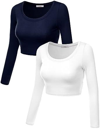 9cf2cab6c9d23 Plus Size Crop Top for Women Crew Neck Basic Long Sleeve Crop Top - USA (