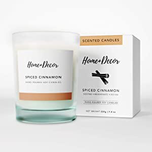 Home + Decor Premium Soy Scented Candles - Cinnamon Scented Candles – Soy Wax Scented Candles for Home Décor – Aromatherapy Candles for Relaxing, Relieving Stress, Fighting Depression, Improving Focus