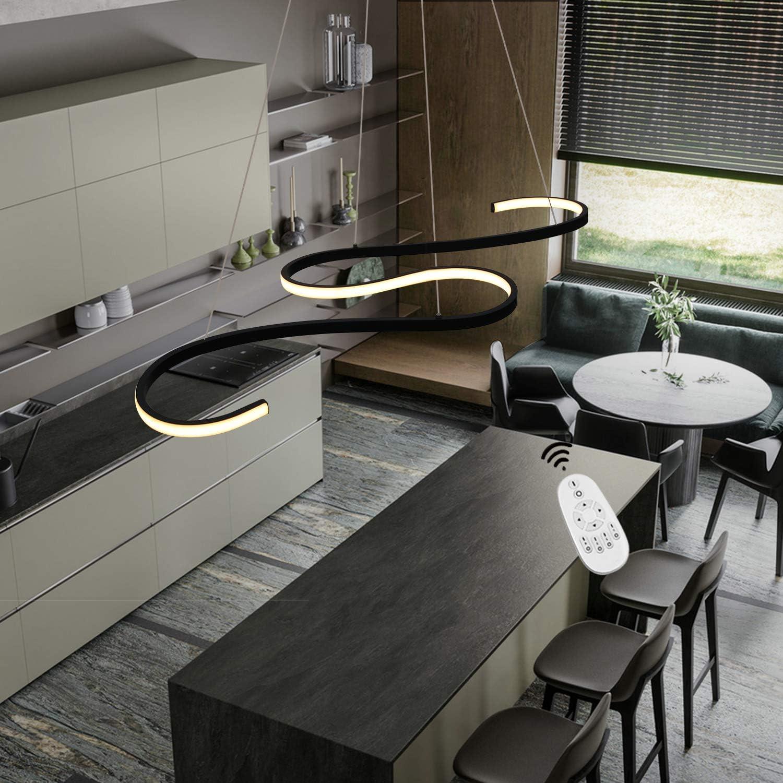 GBLY LED lámpara colgante mesa de comedor 45W lámpara colgante regulable moderno negro 150cm altura ajustable iluminación de techo interior para comedor dormitorio oficina curva diseño: Amazon.es: Iluminación