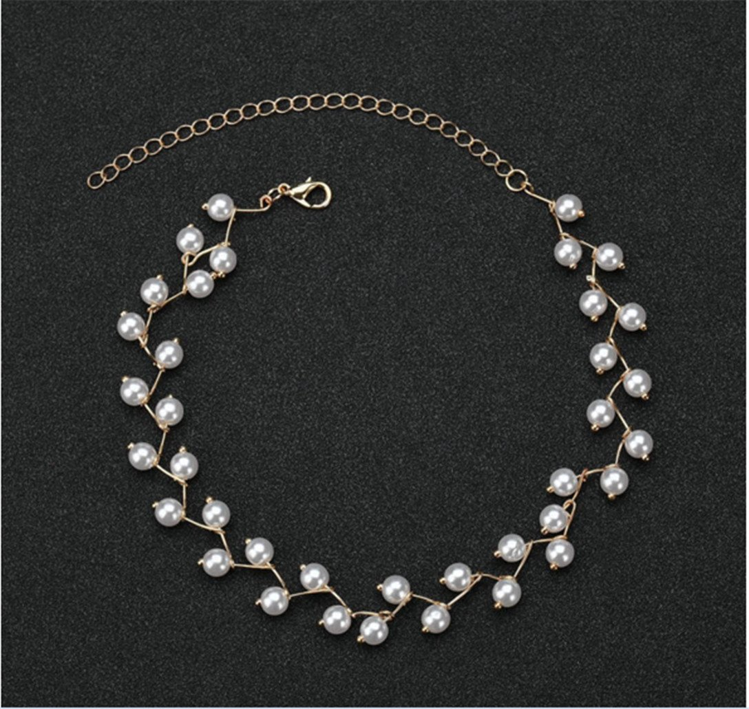 Women Pearl Clavicle Choker Simple Mantle Pearl Necklace,Gold