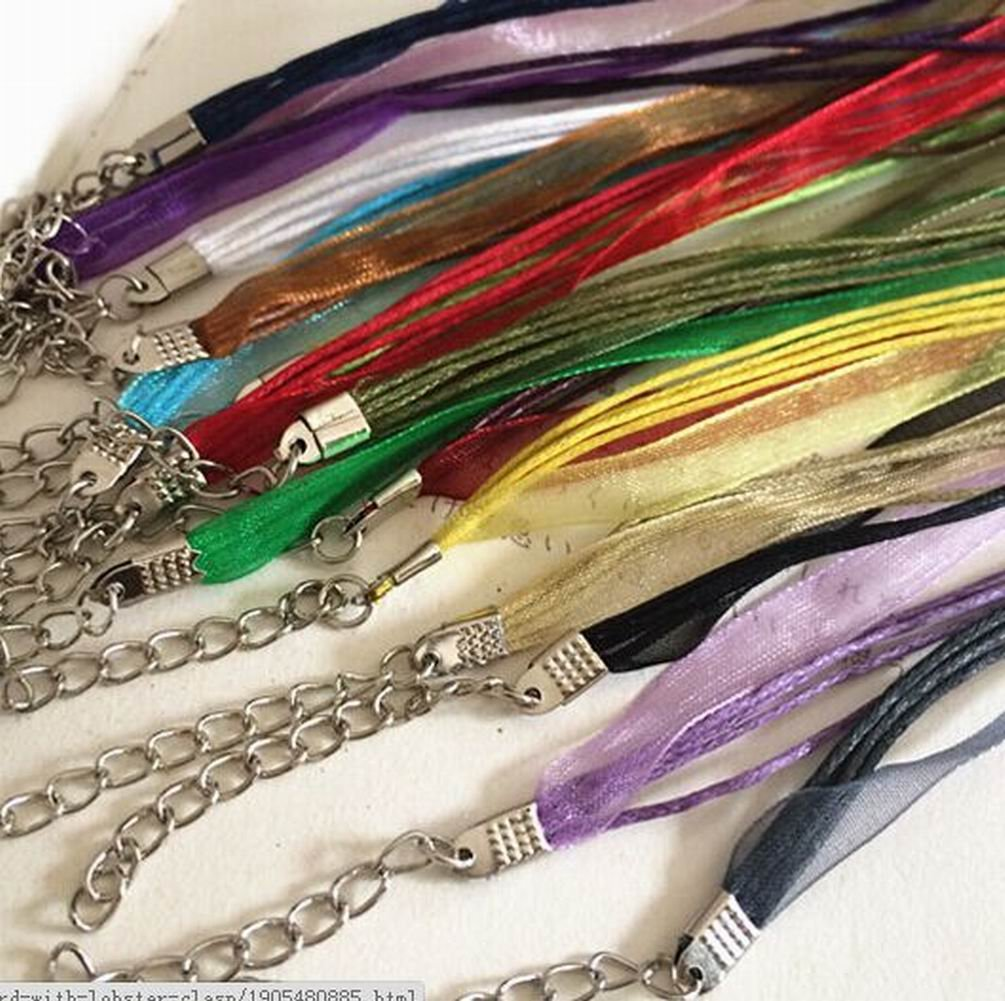 HYBEADS 20pcs 18 Mixed Silk Organza Ribbon Necklace Strap Cord Chain