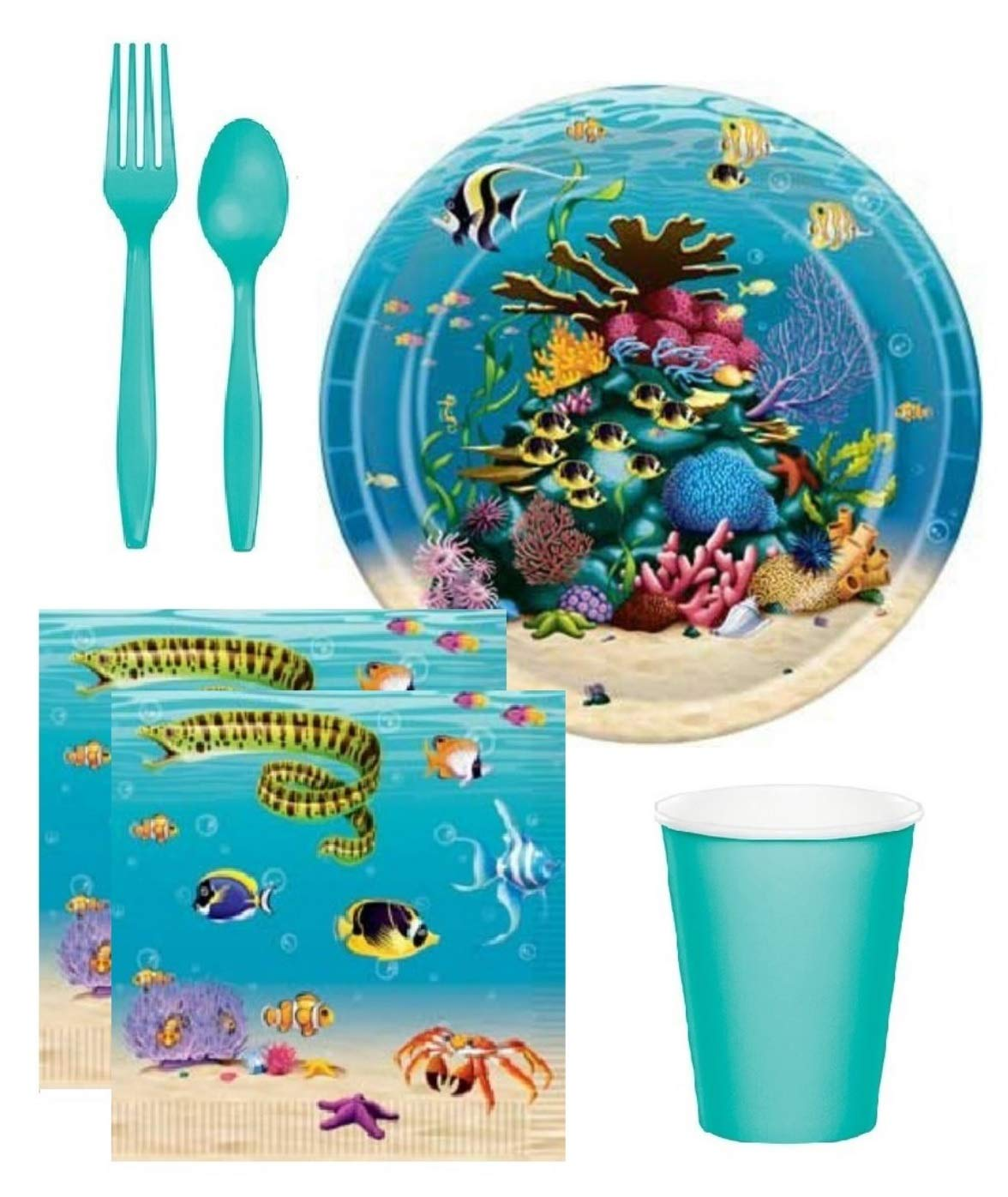 Under The Sea Ocean Theme Birthday Party Baby Shower Supplies for 16 Guests Plates Napkins Cups and Plasticware by FAKKOS
