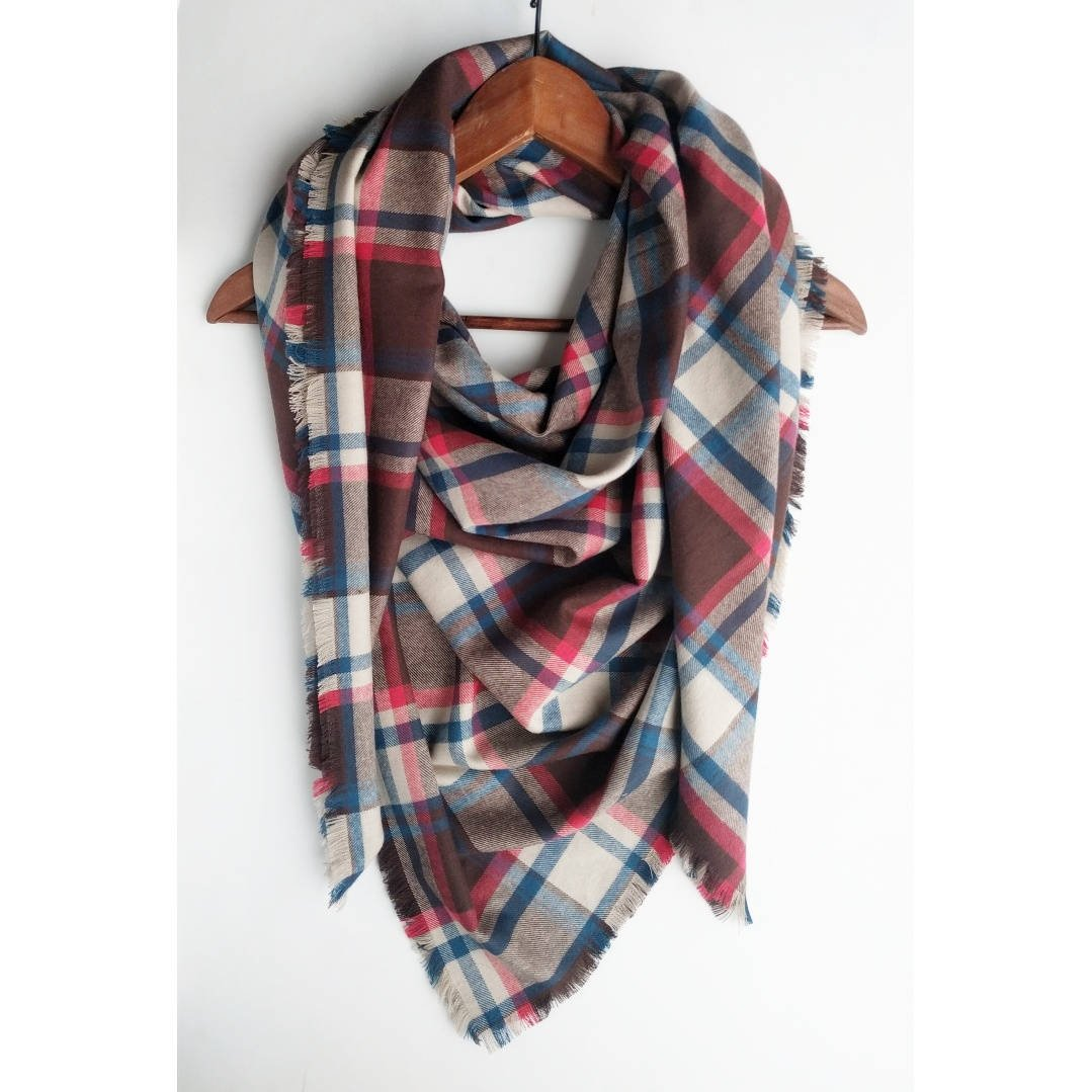 Plaid Blanket Scarf Cotton Square Valentine's Day Gift For Mom