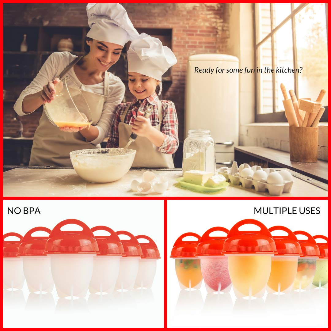 EGGY YO Silicone Hard Boiled Egg Cookers - 6 Egg Cooker Set with Holder and Timer - Egg Boiler No Shell by EGGY YO (Image #6)