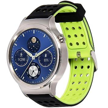 Greatfine 18mm de Pulsera de Reloj Silicona Liberación Reemplazo Correa para Huawei Watch Classic/Huawei Fit/Nokia Health Watch/Withings Activité and ...